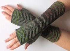 Fingerless Gloves Black Gray Brown Green Moss wrist warmers by Initasworks on Etsy