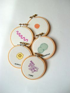 STD Microbes cross stitch set: Remember the good old days when grannies used to cross stitch samplers and crochet blankets?