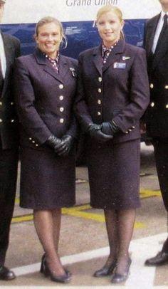 World stewardess Crews: British Airways Vintage Uniform Airline Attendant, Flight Attendant, British Airways Cabin Crew, Air Hostess Uniform, Female Pilot, Black Leather Gloves, Girls Uniforms, Fashion Socks, Summer Outfits