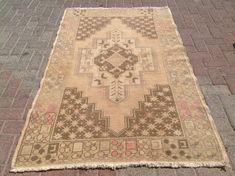 Naturally distresses Antique Oushak Rug, 73'' x 46'', Muted color rug, Brown & beige rug, medallion rug, distressed area rug, rug, rug 023