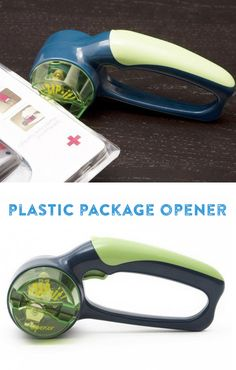 A safe and easy way to open plastic clam-shell packaging. Battery powered.