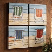 Beach chairs on canvas