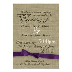 Purple Bow and Rustic Burlap Wedding Announcements