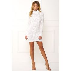 Honey couture anika white high neck long sleeve sequin dress ($159) ❤ liked on Polyvore featuring dresses, long sleeve dress, white long-sleeve dresses, white high neck dress, form fitted dresses and white sequin dress