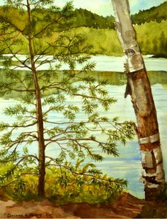 """Tree Story on Buck Pond"" Watercolor painted by Corinne Kelly Avery - Plein Air Painter with GVPAP - painted on vacation Aug. 2012 in the Adirondacks"