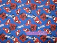 """2004 Marvel SpiderMan pillow panels  red//black  45/"""" 100/% cotton by the yd."""