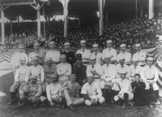 """Boston Beaneater Charles """"Old Hoss"""" Radbourn (top row, far left) flips a subtle bird during a group photo with the New York Giants, a rival team."""