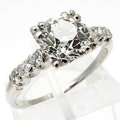 Freaking <3 this engagement ring! Old European Cut Diamond Solid Platinum from westonjewelry.com