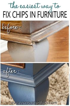 This easy step-by-step guide shows you exactly how to fix damaged wood furniture and which product to use: epoxy for wood, caulk or wood filler. Repair Wood Furniture, Wood Repair, Laminate Furniture, Refurbished Furniture, Repurposed Furniture, Furniture Projects, Furniture Makeover, Diy Furniture, How To Paint Furniture