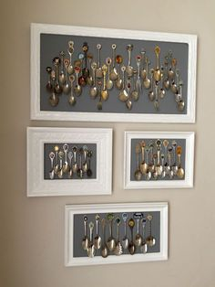 Modern spoon collection display.