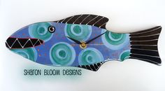 Ceramic Handmade Fish Clock by Sharon Bloom by sharonbloom on Etsy https://www.etsy.com/listing/244854842/ceramic-handmade-fish-clock-by-sharon
