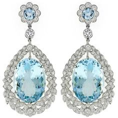 Aquamarine Diamond Gold Chandelier Earrings
