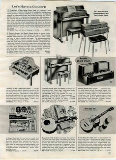 1963 toy piano page: Schoenhut Toy pianos, plus two Emenee electronic toy organs.