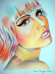 """""""Mujer con cabello de colores"""" lápiz de color, Denise Quijada, 2015."""