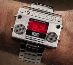 Old School Soundtrack Watches - The Boombox Metal Wristwatch is a Throwback to Retro Beats (GALLERY) Fancy Watches, Men's Watches, Sport Watches, Luxury Watches, Cool Watches, Watches For Men, Unusual Watches, Diamond Watches, Wrist Watches