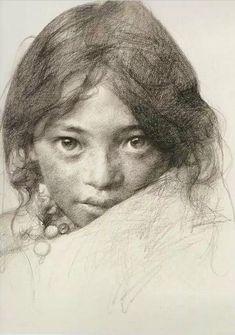 "Artist: ai xuan ~ ""portrait of a tibetan girl iii"" Portrait Sketches, Drawing Sketches, Pencil Drawings, Art Drawings, Sketching, Portrait Au Crayon, Pencil Portrait, Portrait Art, Figure Drawing"