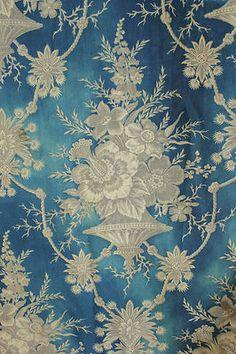19th century , antique French Prussian blue fabric ~ wonderfully timeworn ~ Stunning printing ~