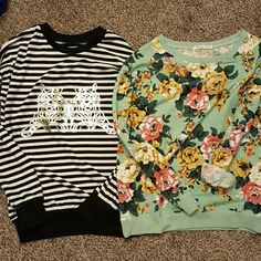 Gorgeous Crew Neck Sweaters I love both these and am sad to see them go but I never get to wearing them. One is mint and floral and the other is white and black with gold print. Both fit according to size. Mint sweater is Large and the other is  Medium. Sweaters Crew & Scoop Necks