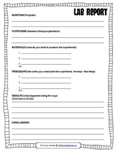 SCIENCE: Lab Report Template for older students | Classroom Ideas ...