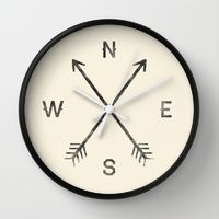 Wall Clocks featuring Compass (Natural) by Zach Terrell