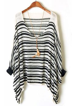 Black White Striped Batwing Sleeve Loose Sweater