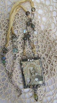 Romancing the Bling: Embelished Soldered Vintage Rhinestone Assemblage Necklace, etc...