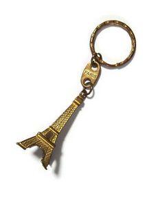1960s Eiffel Tower key ring. Tourist souvenir of by ParisSouvenirs