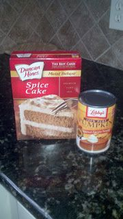 Easy Pumpkin Muffins ~ 1 box spice cake, 1 can pumpkin, 3/4 c. water. Mix & bake at 350 for 21-22 min.