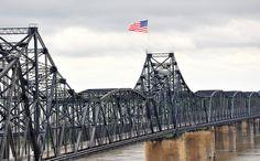 rail bridge across the Mississippi River in Vicksburg, MS.