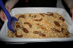 Kitty Litter Cake Recipe  Here's What You'll Need  Cake Ingredients    1 box German Chocolate or Spice Cake Mix  1 box White Cake Mix  1 package (12 or 16 oz) White Sandwich Cookies  1 large package Vanilla Instant Pudding Mix  A few drops Green Food Coloring  12 small Tootsie Rolls    Serving Dishes & Utensils (New Only!)    1 cat-litter box  1 pooper scooper  1 cat-litter box liner (optional)      Kitty Litter Cake        * Prepare and bake cake mixes according to directions.      * Prepare pudding mix and chill.      * Crumble cookies in small batches in a blender or food processor.      * Add a few drops of green food coloring to 1 cup of cookie crumbs. Mix with a fork or shake in a jar. Set aside.      * When cakes are cooled, crumble them into a large bowl. Toss with half of the remaining cookie crumbs and enough pudding to make the mixture moist, but not soggy.      * Place liner in litter box (optional) and dump in the cake mixture.      * Unwrap 3 Tootsie Rolls and heat in a microwave until soft and pliable. Shape the blunt ends into slightly curved points. Repeat with 3 more Tootsie Rolls. Bury the rolls decoratively in the cake mixture.      * Sprinkle remaining white cookie crumbs over the mixture, then scatter green crumbs lightly over top.      * Heat 5 more Tootsie Rolls until almost melted. Scrape them on top of the cake and sprinkle with crumbs from the litter box.      * Heat the remaining Tootsie Roll until pliable and hang it over the edge of the box.      * Place box on a sheet of newspaper in middle of table and serve with litter scooper.
