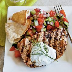 Hearty yet refreshing Greek-Style Pork Chops from Cooking Light are a perfect summer dinnner. A George Foreman grill works just as well as a grill pan, but don't skip the salad or tzatziki sauce!