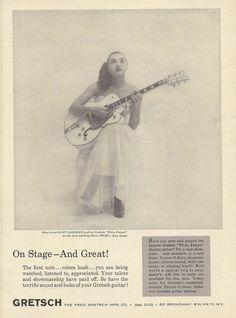 "MARY OSBORNE GRETSCH GUITARS Original Vintage Jazz AD ""Down Beat"" 1960"