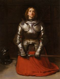 Joan of Arc, John Everett Millais (1829–1896) John Millais turned to historical subjects in the 1860s. One of his most intense works on an historical theme is Joan of Arc. Wearing a half-suit of armour and chain-mail and a red skirt, Jeanne D'Arc...