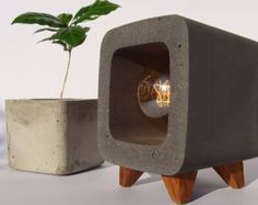 Concrete Lamp Original Industrial Design Cement Ninght Table