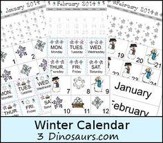 Free Winter Calendar Cards