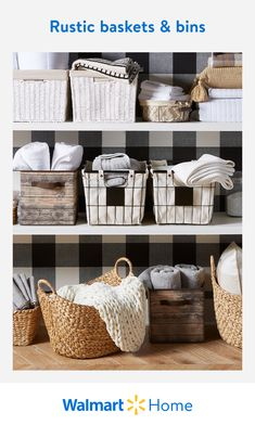 Walmart Home, Rustic Baskets, Linen Closet Organization, Organization Hacks, The Home Edit, Autumn Home, Farmhouse Decor, Farmhouse Baskets, Getting Organized