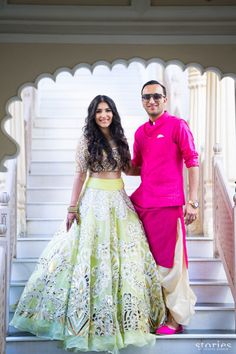 Couple Outfits - Stylist's Reveal Wedding Ready Ideas for Swoon Worthy Coordinated Outfits 💖 - Witty Vows Desi Wear, Pakistani Outfits, Indian Outfits, Mehendi Outfits, Indian Clothes, Bridal Outfits, Bridal Dresses, Green Lehenga, Vestidos
