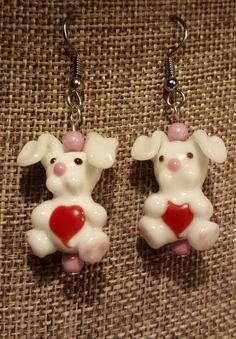 White Rabbit Lampwork Bead Earrings by SpringHammock on Etsy