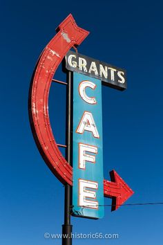 Grants, NM - 2014 : The retro sign of the Grants Cafe was returned and restored as part of a neon restoration project.