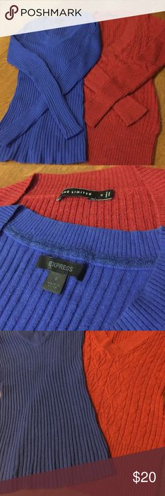 "SALE Express & The Limited 2 sweaters rust & blue 2 form fitting sweaters SZ small with v neck and long sleeves. Machine wash.  Blue bust 13"" rust bust 15"" length 24"". EUC Express and The Limited Sweaters V-Necks"
