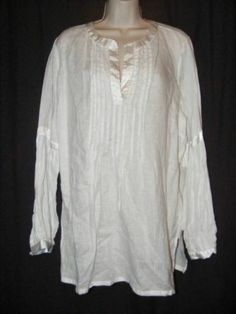 Soft Surroundings White 100% Linen Satin Trim Long Tunic Top XL