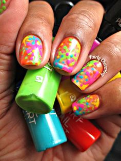 So guess who caught a stomach bug? :( I had a busy busy weekend and then yesterda. Neon Nails, Love Nails, My Nails, Cute Nail Art Designs, Hair Designs, Easy Nail Art, Cool Nail Art, Splatter Nails, Happy Nails