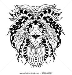 Detailed lion in aztec filigree line art zentangle style for Aztec lion tattoo meaning