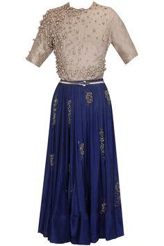 Steel grey pearl embroidered crop top with blue skirt by Priyanka Parekh