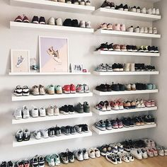 we approve sneaker and poster collection 😀🖼👟 Girls Sneaker collection with great posters Shoe Wall, Shoe Room, Closet Shoe Storage, Shoe Closet, Sneakers Storage, Teen Room Decor, Bedroom Decor, All White Shoes, Hypebeast Room