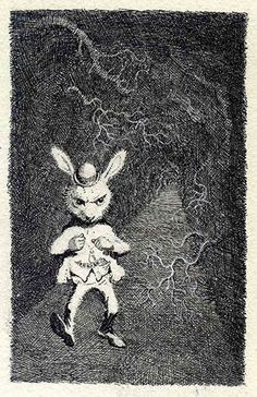 Mervyn Peake. Alice in Wonderland white rabbit. Christmas Card. Addressed to Mary (my grandmother). Signed by Mauve Peake.