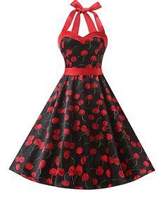 Dresstells Neckholder Rockabilly 50er Vintage Retro Kleid Petticoat  Faltenrock  Amazon.de  Bekleidung 844aeb647b