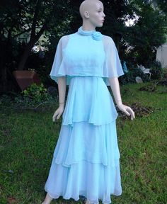 70s Prom Dress with Four Chiffon Tiers in Powder Blue