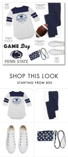 """60 Second Style: Penn State Game Day"" by kellylynne68 ❤ liked on Polyvore featuring Blue 84, Madewell, Converse, Vera Bradley, football, gameday, pennstate and 60secondstyle"