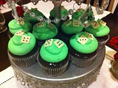 Woodlands Prep Minte Carlo Cupcakes - Chocolate cupcake, dipped in mint chocolate ganache, piped buttercream, fondant dice toppers.